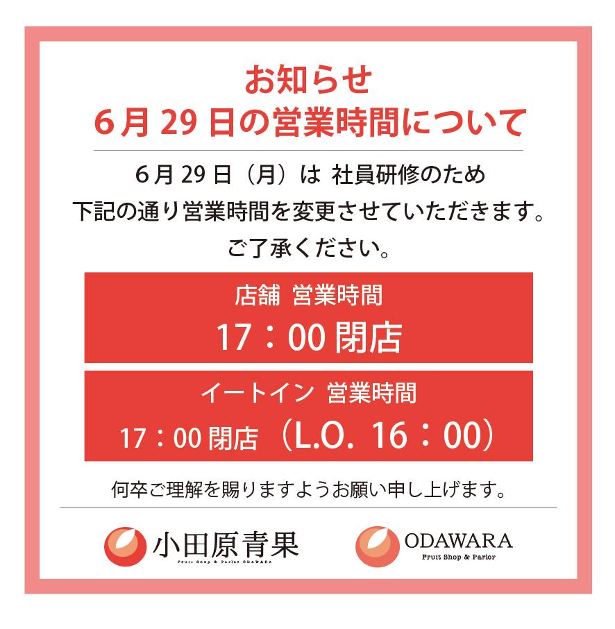 【お知らせ】6月29日の営業時間について